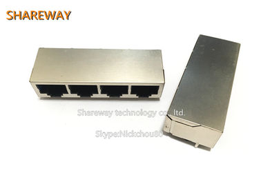 China J1N-0011NL Low Profile RJ45 Jack , Router 1x4 Tab Up RJ45 Ethernet Jack supplier