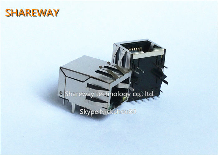 Magnetic 8P8C PCB Rj45 Modular Jack / Rj45 Ethernet Jack With ...