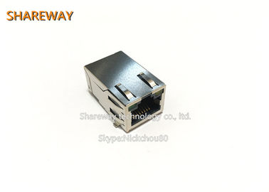 China Single Row 6pins PoE RJ45 Connector J0G-0059NL Right Angle With LED / Finger distributor