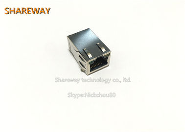 China Metal Shell Low Profile RJ45 Jack , J0G-0003NL Magnetic RJ45 Connector distributor