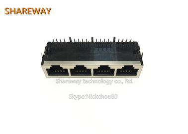 China JGL Series Low Profile RJ45 Jack , Tab Down 1*4 Multi Port Jack With Filter factory