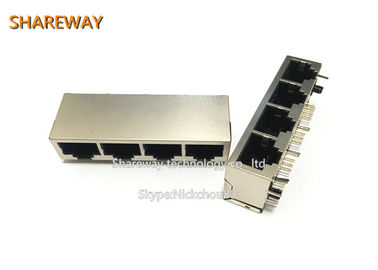China 10 / 100 / 1000Base-T RJ45 Female Jack Shielded JGL-0004NL Nickel Housing factory