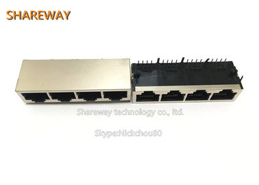China Low Profile 10P8C RJ45 Ethernet Magjack J1N-0013NL 1*4 Port Connector factory