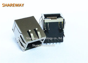 China 10 / 100 Base - T Magnetic RJ45 Jack Pcb Mounting Stacked 8P8C Right Angle factory