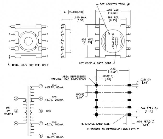 Silicon Iron Core Toroidal Coil Transformer 750316018 8 9VuS Voltage